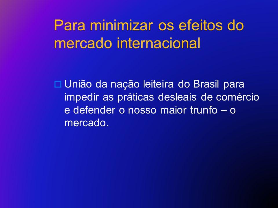 Para minimizar os efeitos do mercado internacional União da nação leiteira do Brasil para impedir as práticas desleais de comércio e defender o nosso