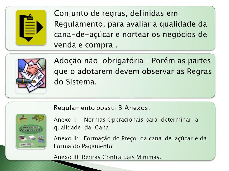 Conjunto de regras, definidas em Regulamento, para avaliar a qualidade da cana-de-açúcar e nortear os negócios de venda e compra.