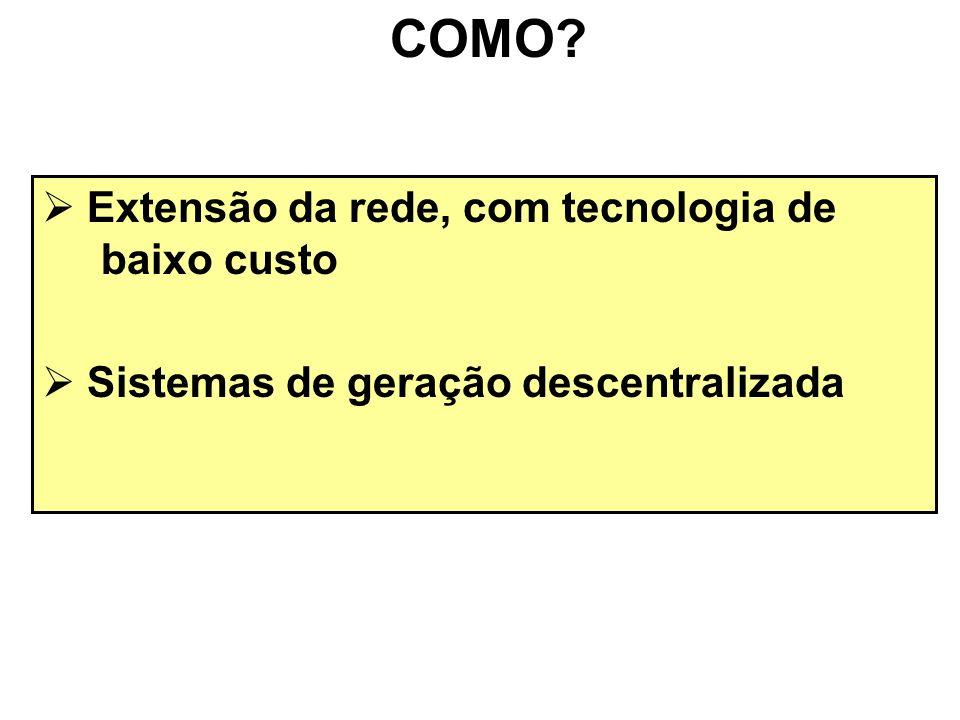 Extensão da rede, com tecnologia de baixo custo Sistemas de geração descentralizada COMO?