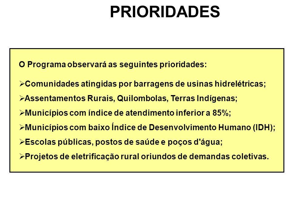 PRIORIDADES O Programa observará as seguintes prioridades: Comunidades atingidas por barragens de usinas hidrelétricas; Assentamentos Rurais, Quilombo