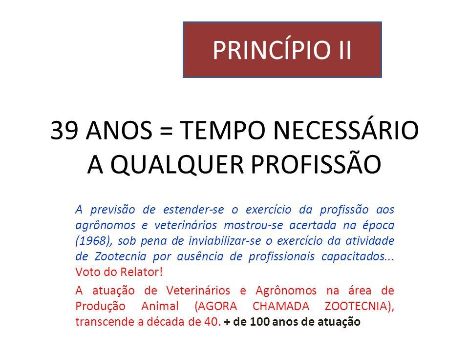 39 ANOS = TEMPO NECESSÁRIO A QUALQUER PROFISSÃO A previsão de estender-se o exercício da profissão aos agrônomos e veterinários mostrou-se acertada na