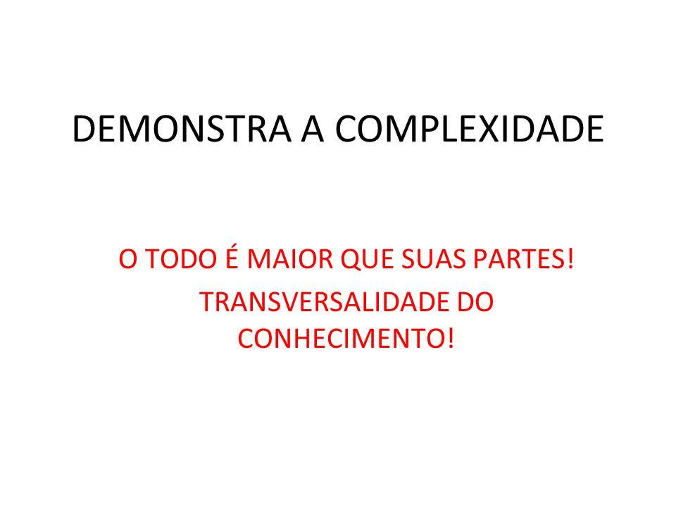 DEMONSTRA A COMPLEXIDADE O TODO É MAIOR QUE SUAS PARTES! TRANSVERSALIDADE DO CONHECIMENTO!