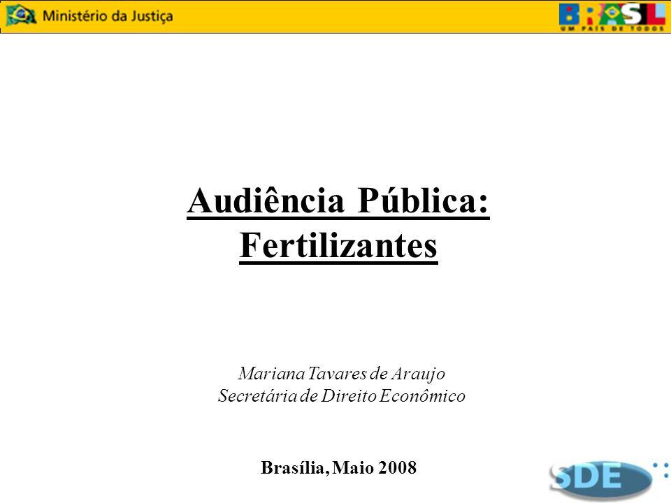 Audiência Pública: Fertilizantes Mariana Tavares de Araujo Secretária de Direito Econômico Brasília, Maio 2008