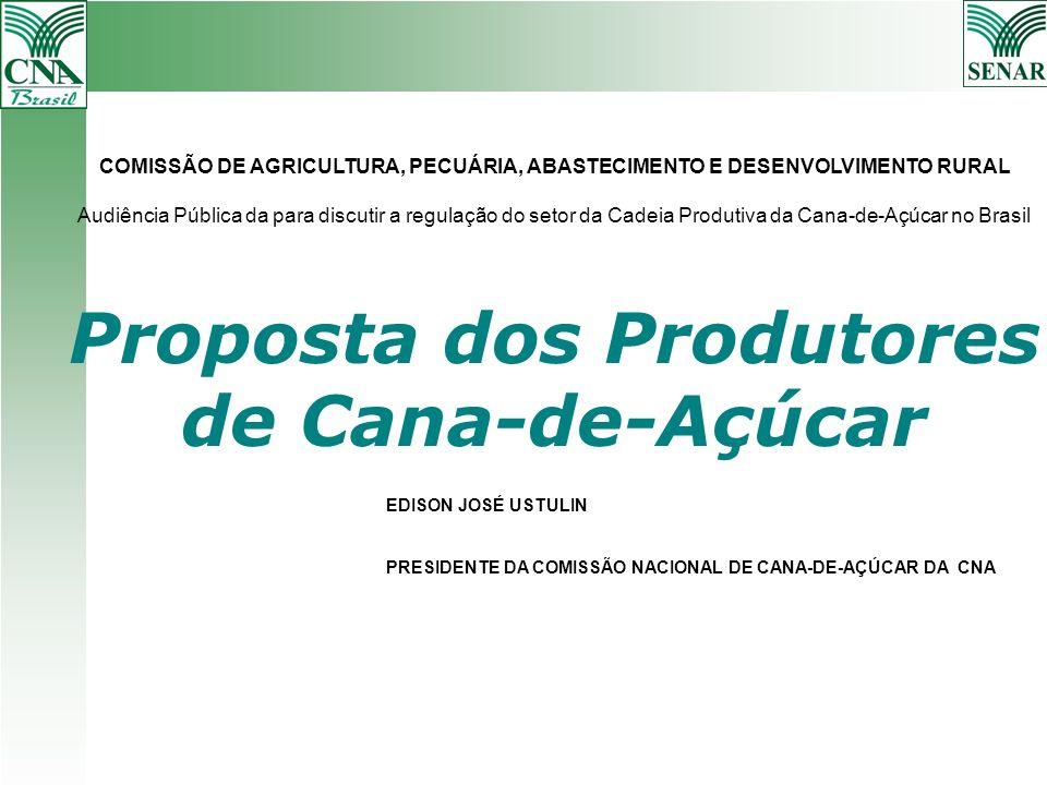 Proposta dos Produtores de Cana-de-Açúcar EDISON JOSÉ USTULIN PRESIDENTE DA COMISSÃO NACIONAL DE CANA-DE-AÇÚCAR DA CNA COMISSÃO DE AGRICULTURA, PECUÁR