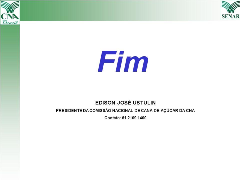 Fim EDISON JOSÉ USTULIN PRESIDENTE DA COMISSÃO NACIONAL DE CANA-DE-AÇÚCAR DA CNA Contato: 61 2109 1400