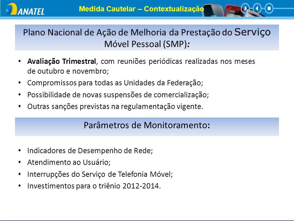 Medida Cautelar – Contextualização Plano Nacional de Ação de Melhoria da Prestação do Serviço Móvel Pessoal (SMP): Avaliação Trimestral, com reuniões