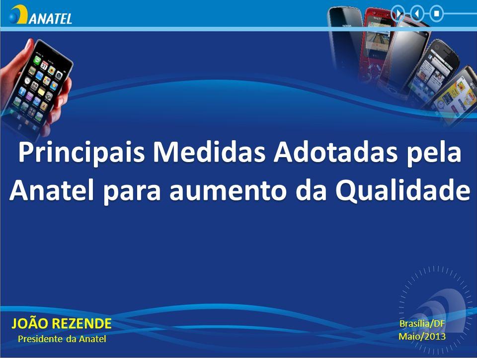 Principais Medidas Adotadas pela Anatel para aumento da Qualidade JOÃO REZENDE Presidente da Anatel Brasília/DF Maio/2013