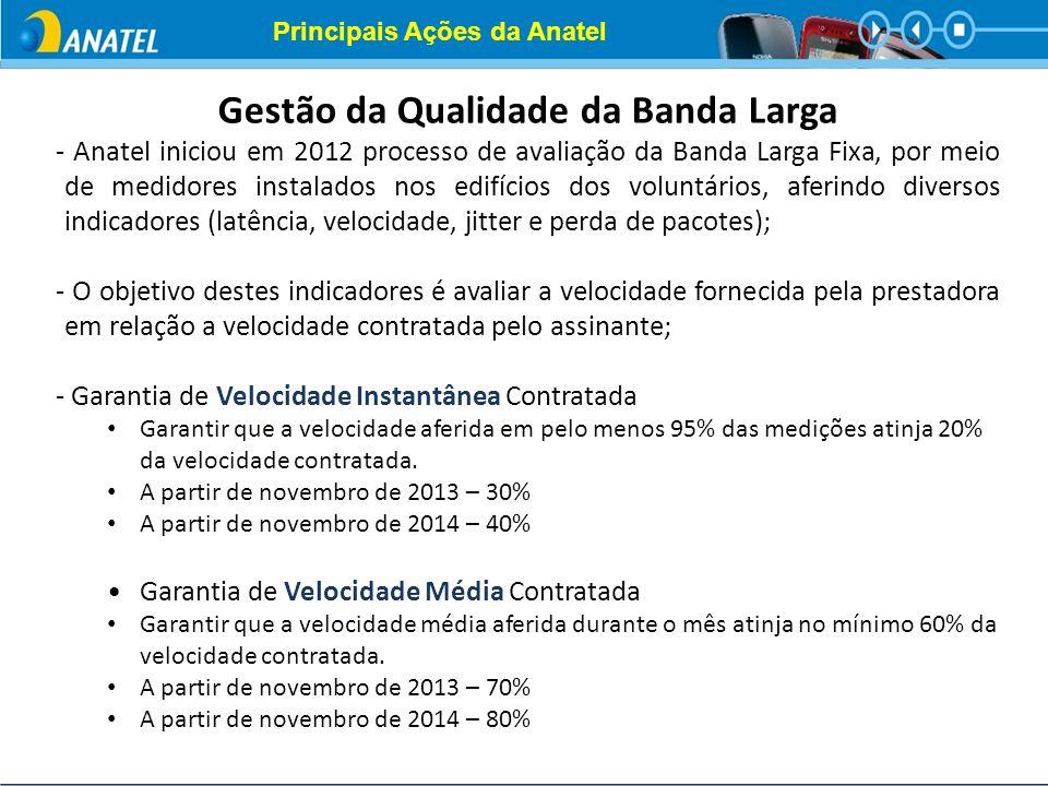 Gestão da Qualidade da Banda Larga - Anatel iniciou em 2012 processo de avaliação da Banda Larga Fixa, por meio de medidores instalados nos edifícios