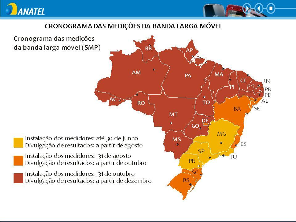 CRONOGRAMA DAS MEDIÇÕES DA BANDA LARGA MÓVEL