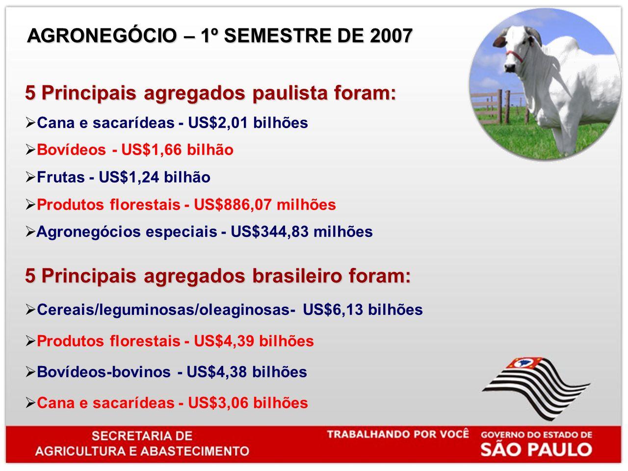 5 Principais agregados paulista foram: Cana e sacarídeas - US$2,01 bilhões Bovídeos - US$1,66 bilhão Frutas - US$1,24 bilhão Produtos florestais - US$886,07 milhões Agronegócios especiais - US$344,83 milhões 5 Principais agregados brasileiro foram: Cereais/leguminosas/oleaginosas- US$6,13 bilhões Produtos florestais - US$4,39 bilhões Bovídeos-bovinos - US$4,38 bilhões Cana e sacarídeas - US$3,06 bilhões