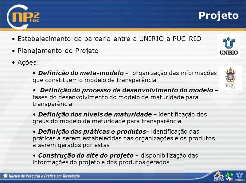 Projeto Estabelecimento da parceria entre a UNIRIO a PUC-RIO Planejamento do Projeto Ações: Definição do meta-modelo – organização das informações que