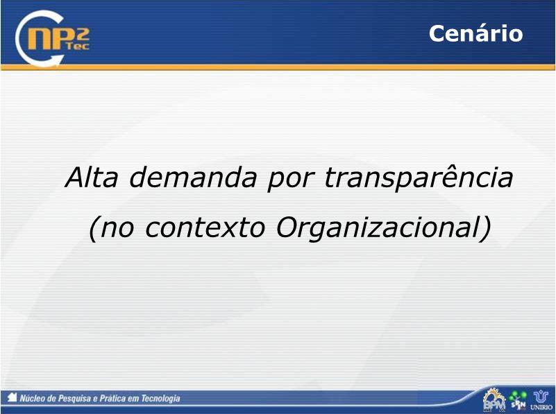 Cenário Alta demanda por transparência (no contexto Organizacional)