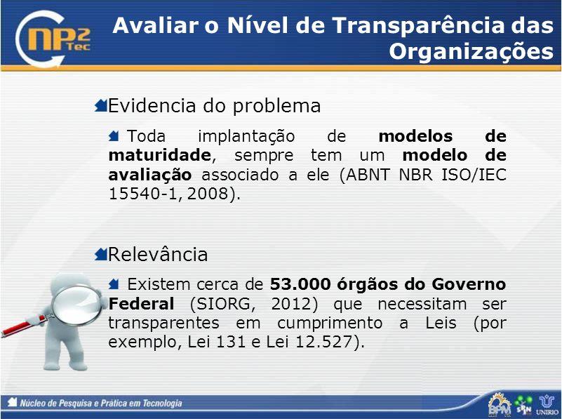 Avaliar o Nível de Transparência das Organizações Evidencia do problema Toda implantação de modelos de maturidade, sempre tem um modelo de avaliação a