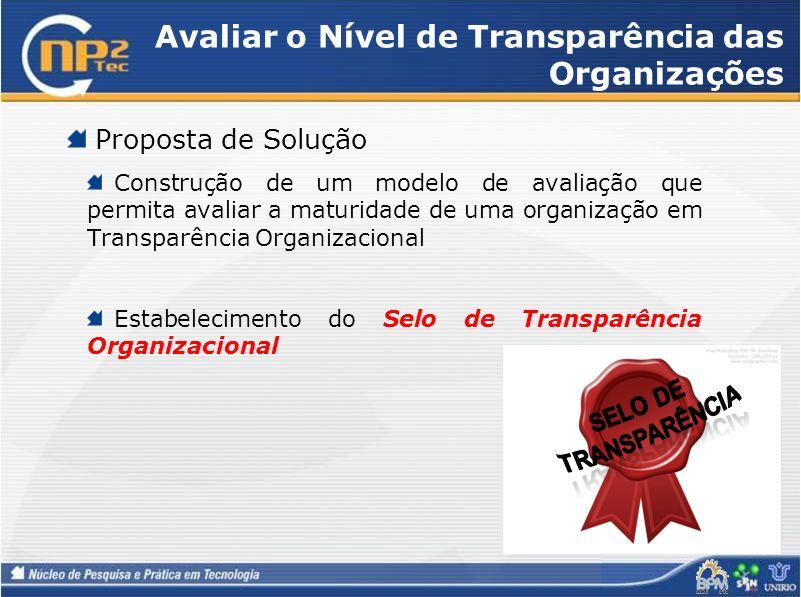 Avaliar o Nível de Transparência das Organizações Proposta de Solução Construção de um modelo de avaliação que permita avaliar a maturidade de uma org