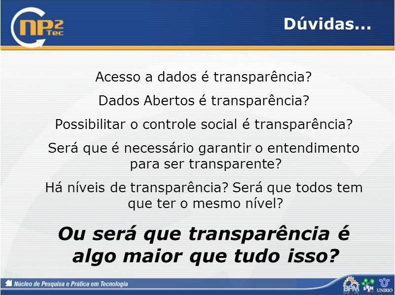 Dúvidas... Acesso a dados é transparência? Dados Abertos é transparência? Possibilitar o controle social é transparência? Será que é necessário garant
