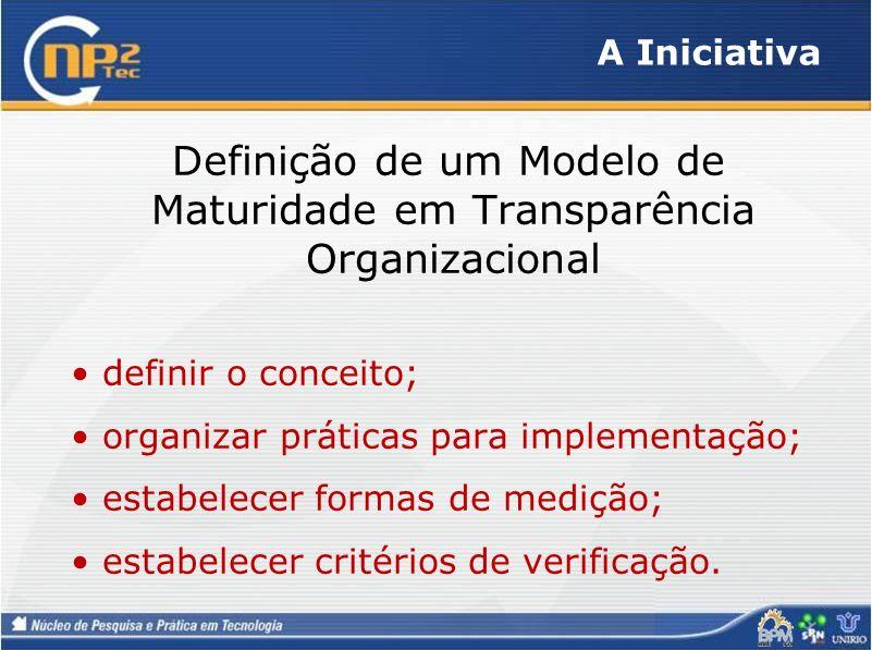 A Iniciativa Definição de um Modelo de Maturidade em Transparência Organizacional definir o conceito; organizar práticas para implementação; estabelec
