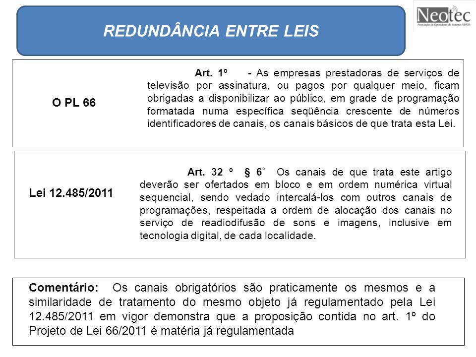 Lei 12.485/2011 REDUNDÂNCIA ENTRE LEIS Art. 1º - As empresas prestadoras de serviços de televisão por assinatura, ou pagos por qualquer meio, ficam ob