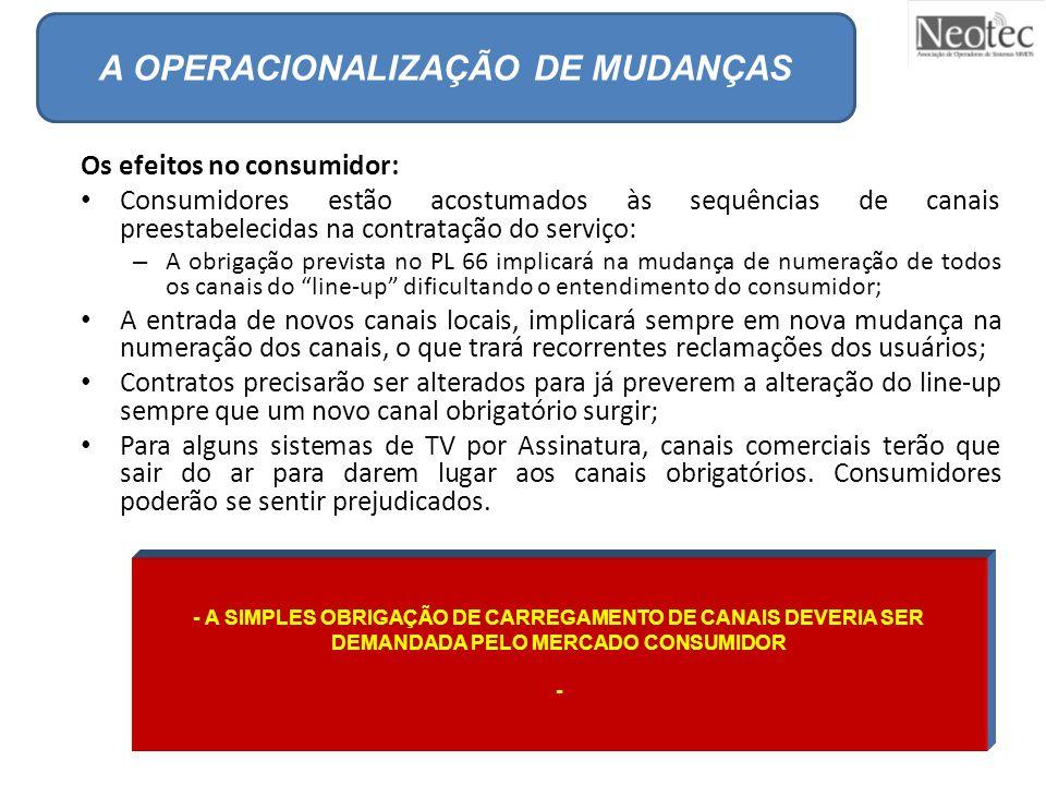 A OPERACIONALIZAÇÃO DE MUDANÇAS Os efeitos no consumidor: Consumidores estão acostumados às sequências de canais preestabelecidas na contratação do se