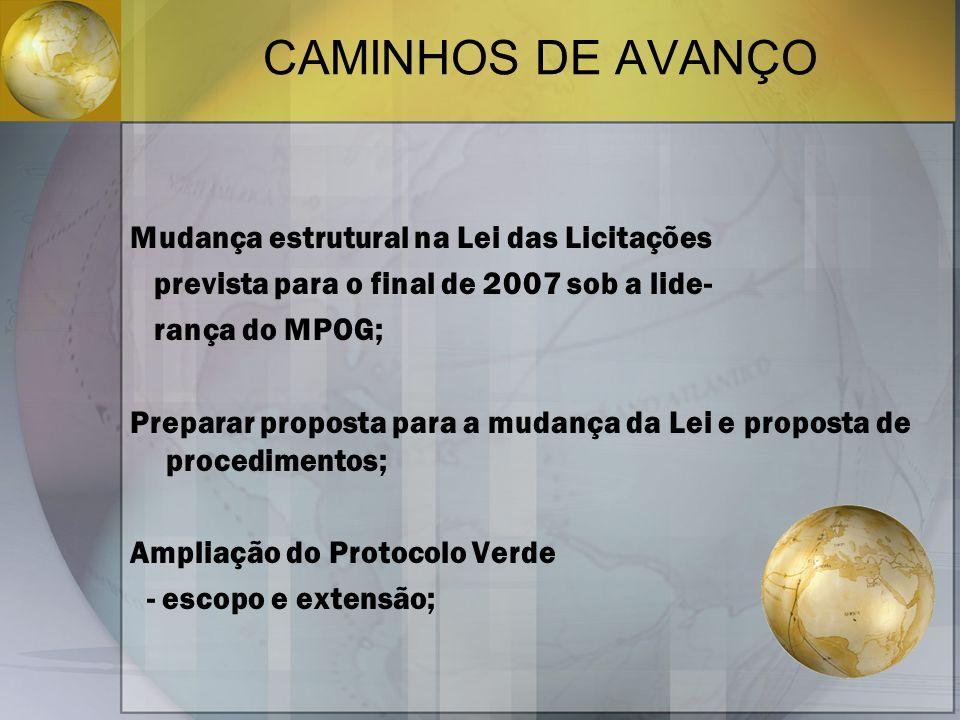CAMINHOS DE AVANÇO Mudança estrutural na Lei das Licitações prevista para o final de 2007 sob a lide- rança do MPOG; Preparar proposta para a mudança