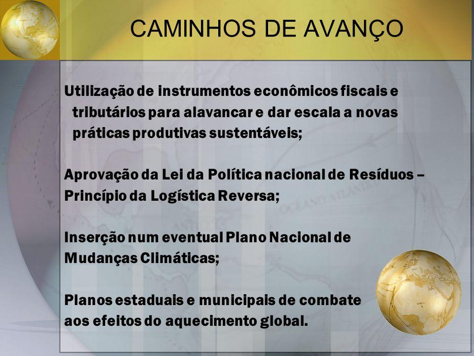 CAMINHOS DE AVANÇO Utilização de instrumentos econômicos fiscais e tributários para alavancar e dar escala a novas práticas produtivas sustentáveis; A