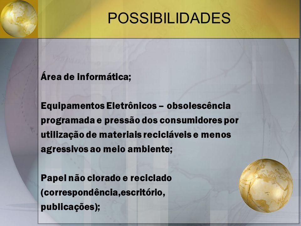 POSSIBILIDADES Área de informática; Equipamentos Eletrônicos – obsolescência programada e pressão dos consumidores por utilização de materiais reciclá
