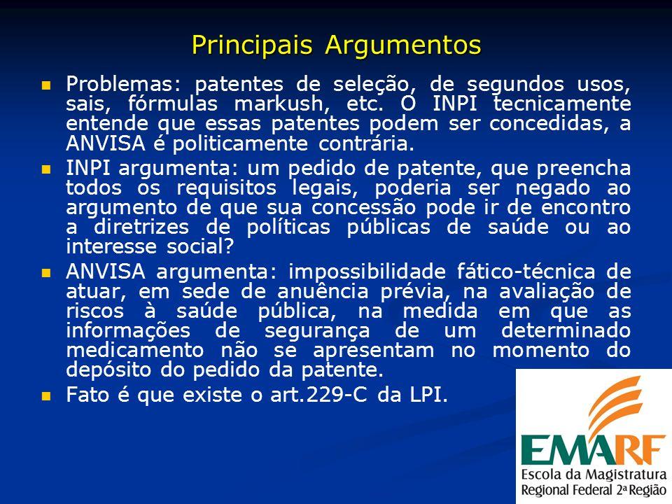 Principais Argumentos Problemas: patentes de seleção, de segundos usos, sais, fórmulas markush, etc. O INPI tecnicamente entende que essas patentes po