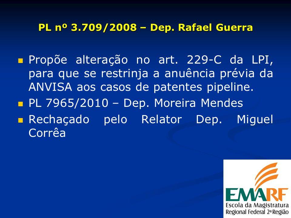 PL nº 3.709/2008 – Dep. Rafael Guerra Propõe alteração no art. 229-C da LPI, para que se restrinja a anuência prévia da ANVISA aos casos de patentes p