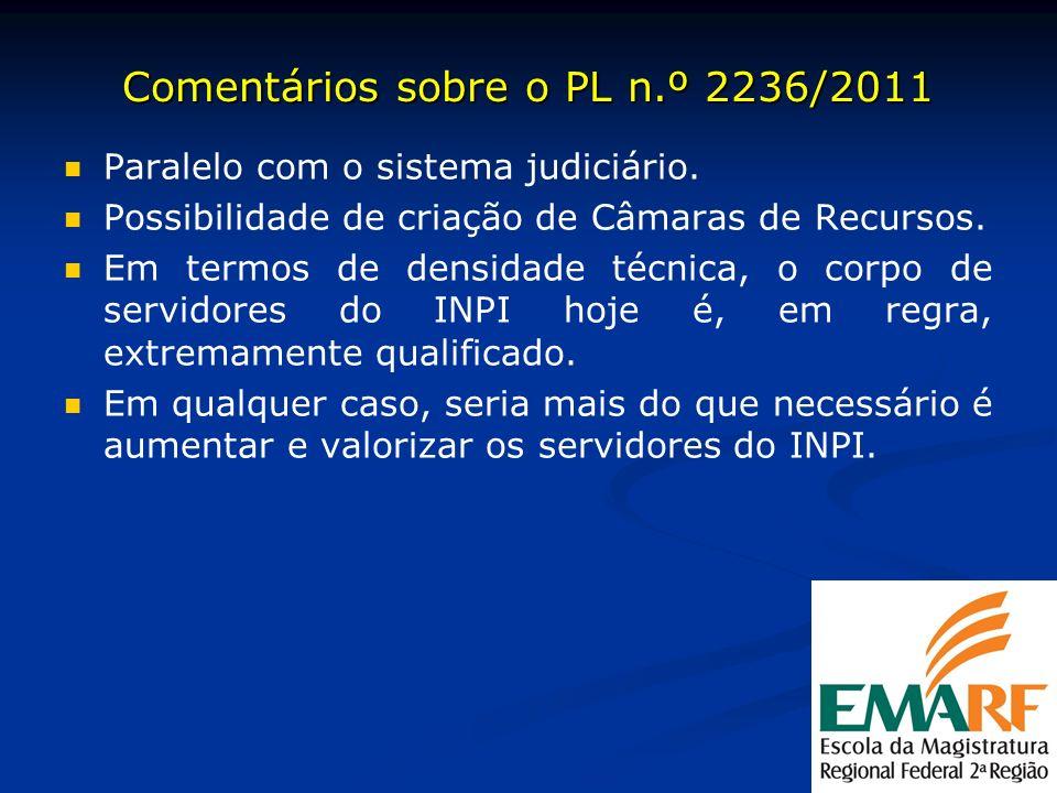Comentários sobre o PL n.º 2236/2011 Paralelo com o sistema judiciário. Possibilidade de criação de Câmaras de Recursos. Em termos de densidade técnic