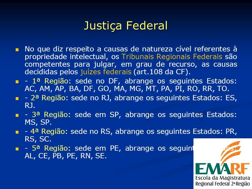 Justiça Federal No que diz respeito a causas de natureza cível referentes à propriedade intelectual, os Tribunais Regionais Federais são competentes p