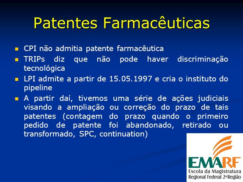 Patentes Farmacêuticas CPI não admitia patente farmacêutica TRIPs diz que não pode haver discriminação tecnológica LPI admite a partir de 15.05.1997 e