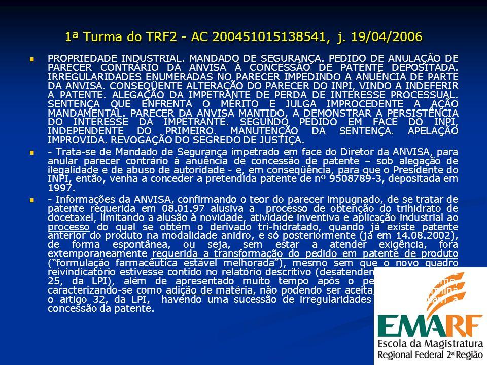 1ª Turma do TRF2 - AC 200451015138541, j. 19/04/2006 PROPRIEDADE INDUSTRIAL. MANDADO DE SEGURANÇA. PEDIDO DE ANULAÇÃO DE PARECER CONTRÁRIO DA ANVISA À