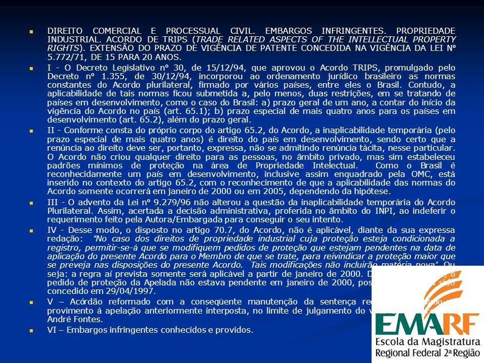 DIREITO COMERCIAL E PROCESSUAL CIVIL. EMBARGOS INFRINGENTES. PROPRIEDADE INDUSTRIAL. ACORDO DE TRIPS (TRADE RELATED ASPECTS OF THE INTELLECTUAL PROPER