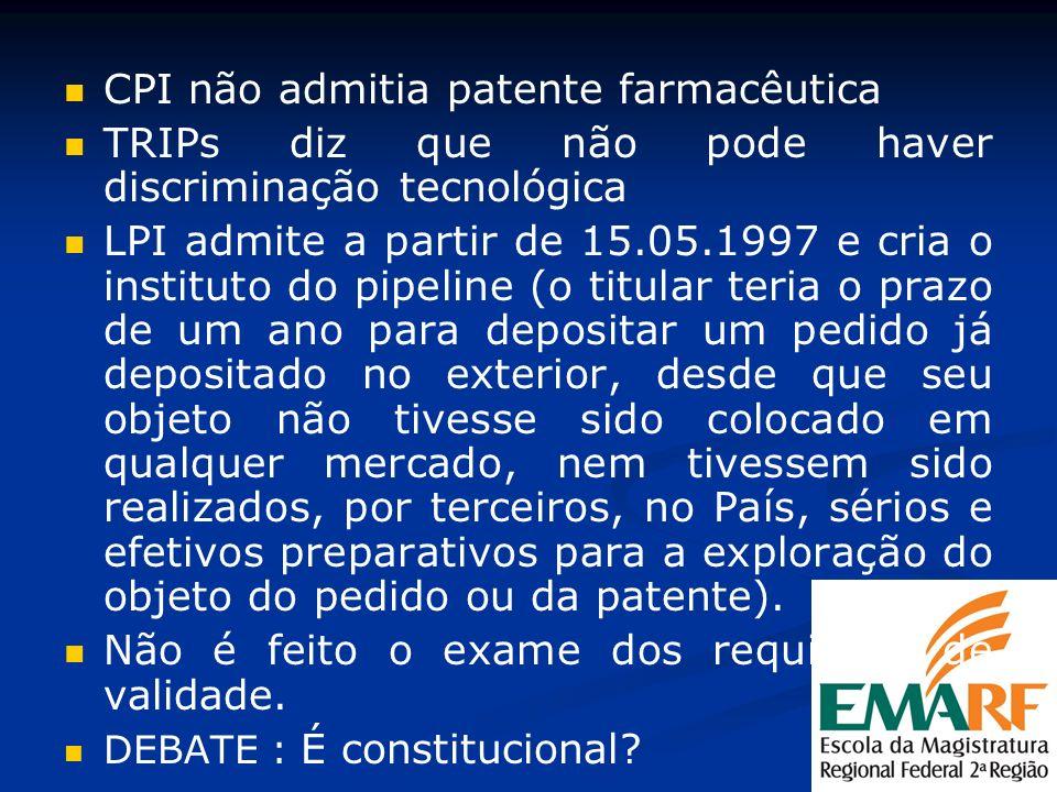 CPI não admitia patente farmacêutica TRIPs diz que não pode haver discriminação tecnológica LPI admite a partir de 15.05.1997 e cria o instituto do pi