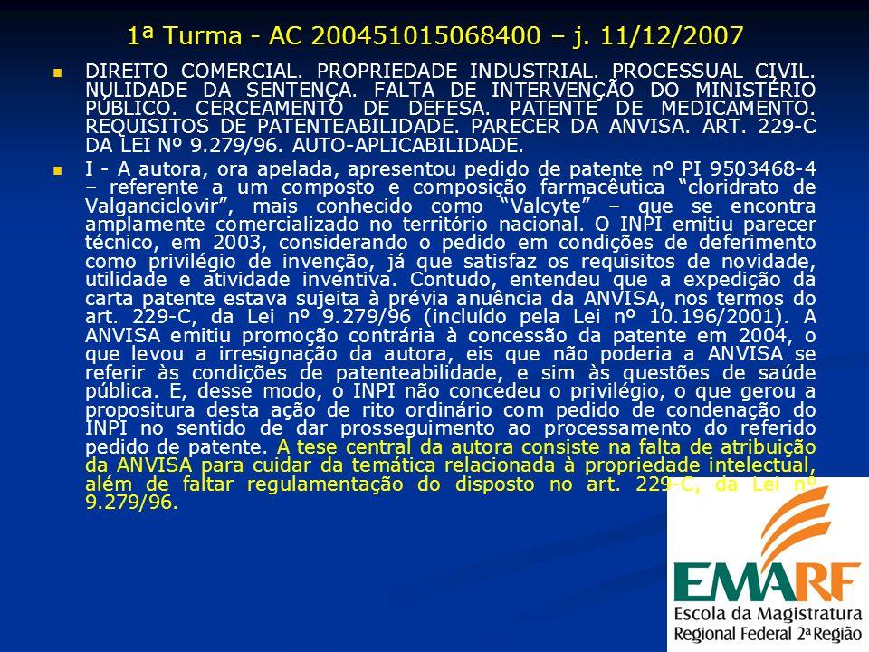 1ª Turma - AC 200451015068400 – j. 11/12/2007 DIREITO COMERCIAL. PROPRIEDADE INDUSTRIAL. PROCESSUAL CIVIL. NULIDADE DA SENTENÇA. FALTA DE INTERVENÇÃO