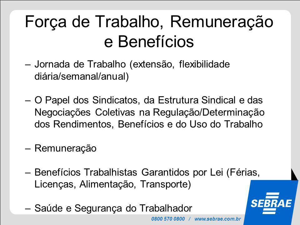 0800 570 0800 / www.sebrae.com.br Força de Trabalho, Remuneração e Benefícios –Jornada de Trabalho (extensão, flexibilidade diária/semanal/anual) –O P