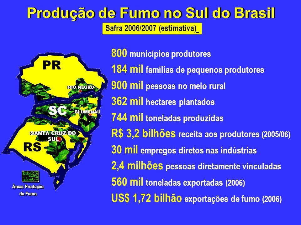 Safra 2006/2007 (estimativa) Produção de Fumo no Sul do Brasil RIO NEGRO SC BLUMENAU RS SANTA CRUZ DO SUL Áreas Produção de Fumo Áreas Produção de Fum