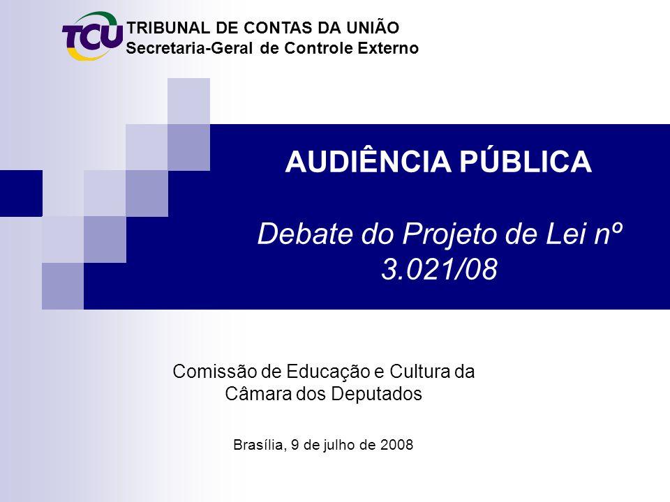TRIBUNAL DE CONTAS DA UNIÃO Secretaria-Geral de Controle Externo AUDIÊNCIA PÚBLICA Debate do Projeto de Lei nº 3.021/08 Brasília, 9 de julho de 2008 Comissão de Educação e Cultura da Câmara dos Deputados