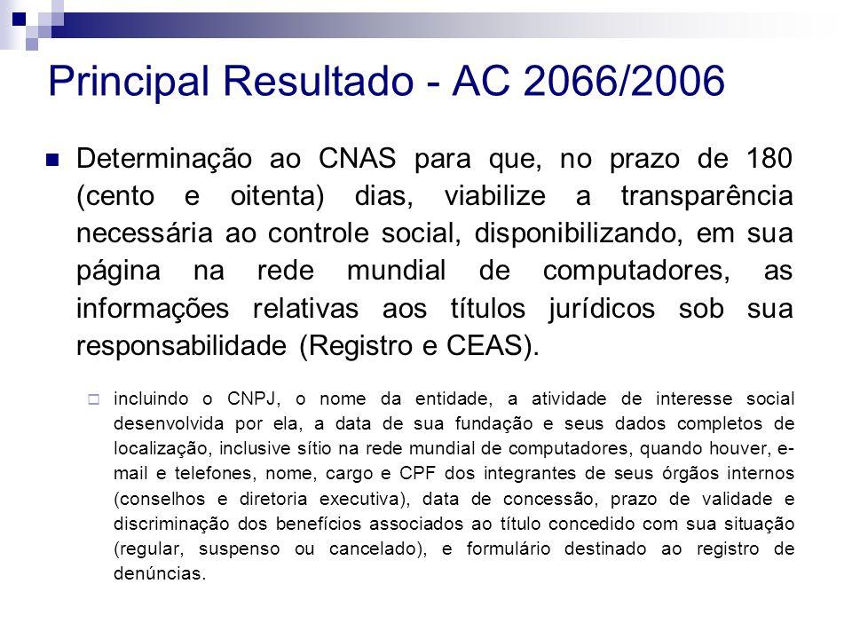 Determinação ao CNAS para que, no prazo de 180 (cento e oitenta) dias, viabilize a transparência necessária ao controle social, disponibilizando, em sua página na rede mundial de computadores, as informações relativas aos títulos jurídicos sob sua responsabilidade (Registro e CEAS).