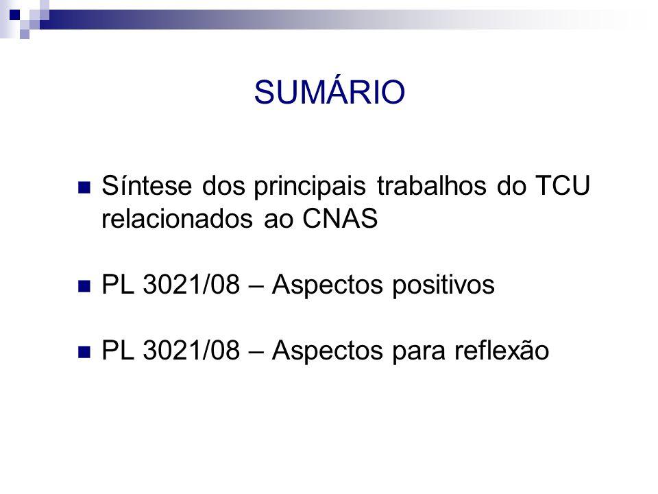 SUMÁRIO Síntese dos principais trabalhos do TCU relacionados ao CNAS PL 3021/08 – Aspectos positivos PL 3021/08 – Aspectos para reflexão
