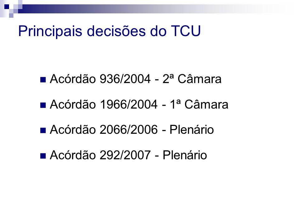 Principais decisões do TCU Acórdão 936/2004 - 2ª Câmara Acórdão 1966/2004 - 1ª Câmara Acórdão 2066/2006 - Plenário Acórdão 292/2007 - Plenário