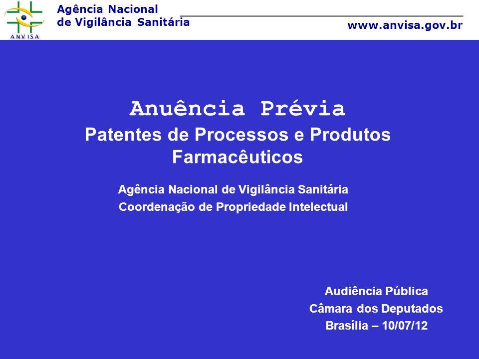 Agência Nacional de Vigilância Sanitária www.anvisa.gov.br Anuência Prévia Patentes de Processos e Produtos Farmacêuticos Agência Nacional de Vigilânc