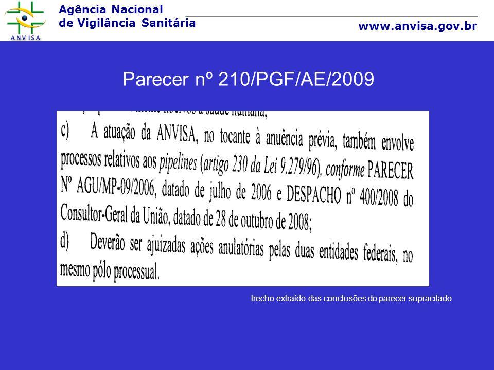 Agência Nacional de Vigilância Sanitária www.anvisa.gov.br Parecer nº 210/PGF/AE/2009 trecho extraído das conclusões do parecer supracitado