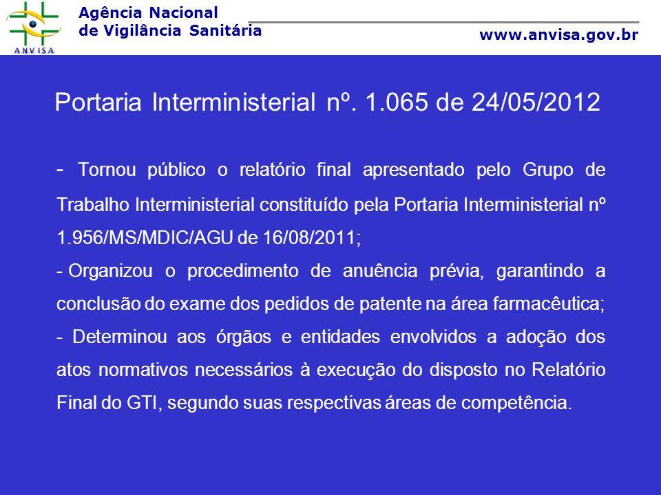 Agência Nacional de Vigilância Sanitária www.anvisa.gov.br Portaria Interministerial nº. 1.065 de 24/05/2012 - Tornou público o relatório final aprese