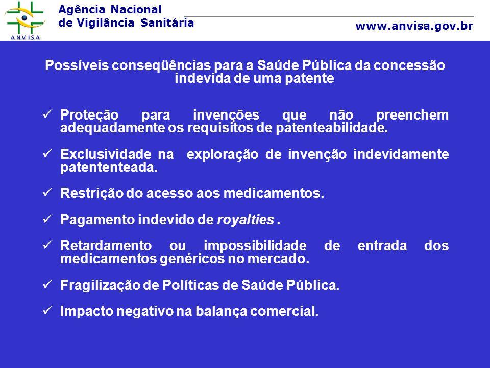 Agência Nacional de Vigilância Sanitária www.anvisa.gov.br Possíveis conseqüências para a Saúde Pública da concessão indevida de uma patente Proteção