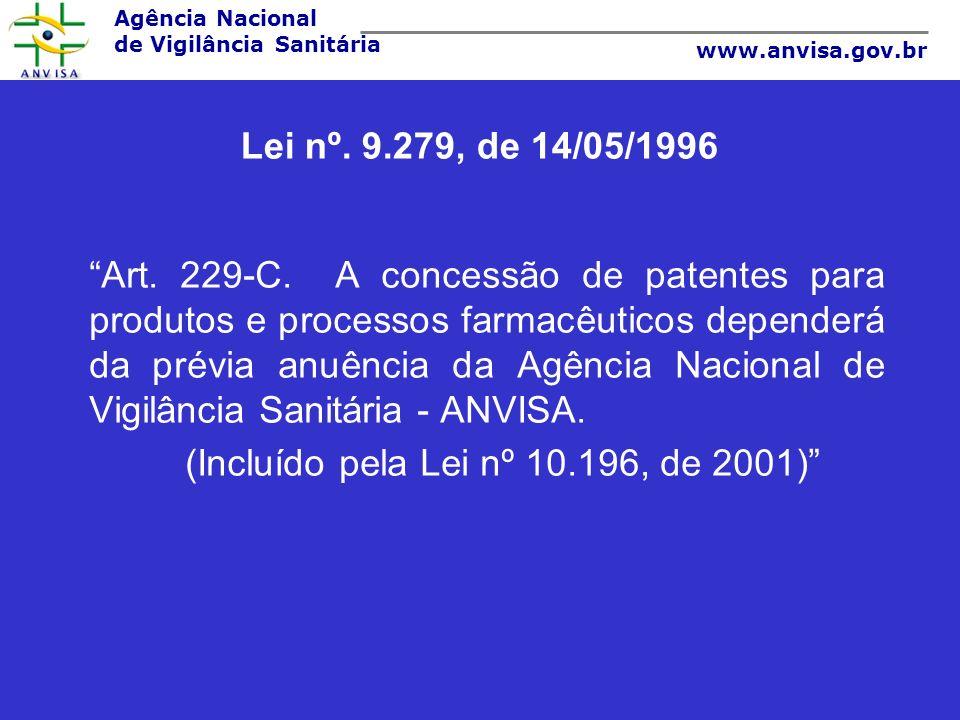 Agência Nacional de Vigilância Sanitária www.anvisa.gov.br Lei nº. 9.279, de 14/05/1996 Art. 229-C. A concessão de patentes para produtos e processos