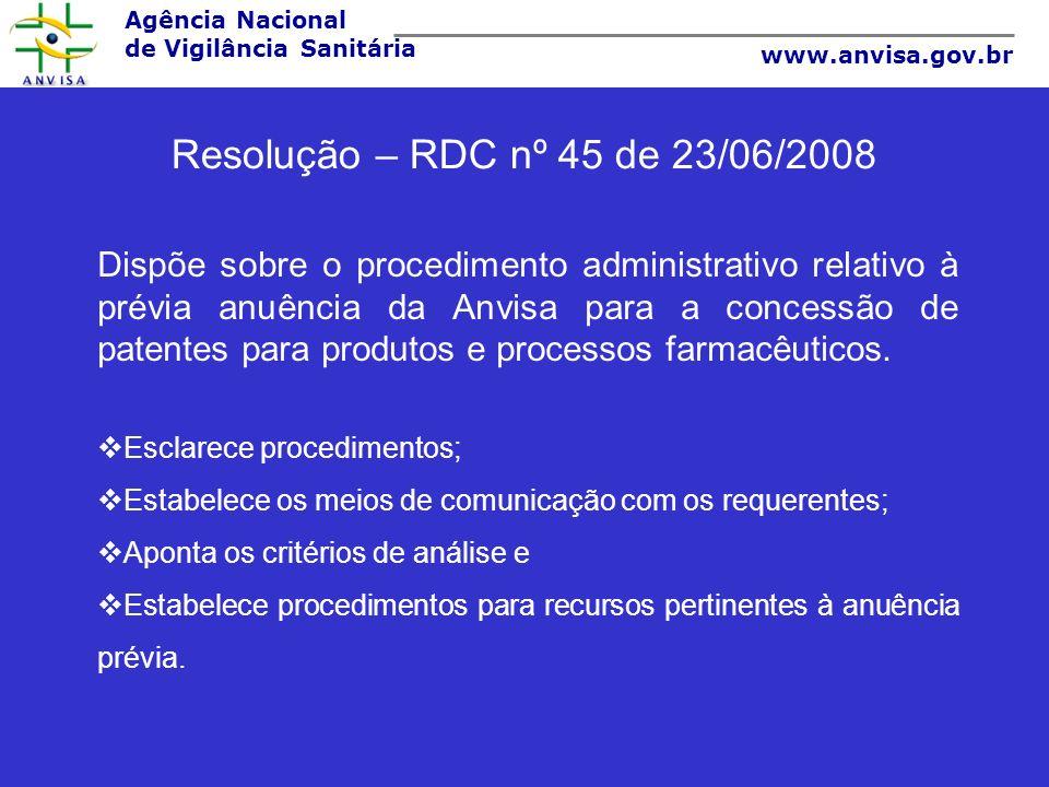 Agência Nacional de Vigilância Sanitária www.anvisa.gov.br Resolução – RDC nº 45 de 23/06/2008 Dispõe sobre o procedimento administrativo relativo à p