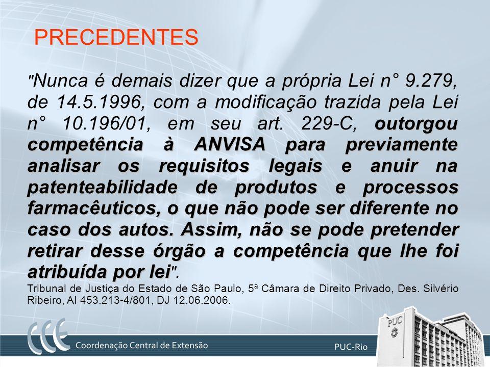 PRECEDENTES outorgou competência à ANVISA para previamente analisar os requisitos legais e anuir na patenteabilidade de produtos e processos farmacêut