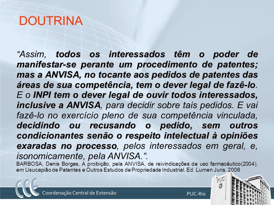 DOUTRINA todos os interessados têm o poder de manifestar-se perante um procedimento de patentes; mas a ANVISA, no tocante aos pedidos de patentes das