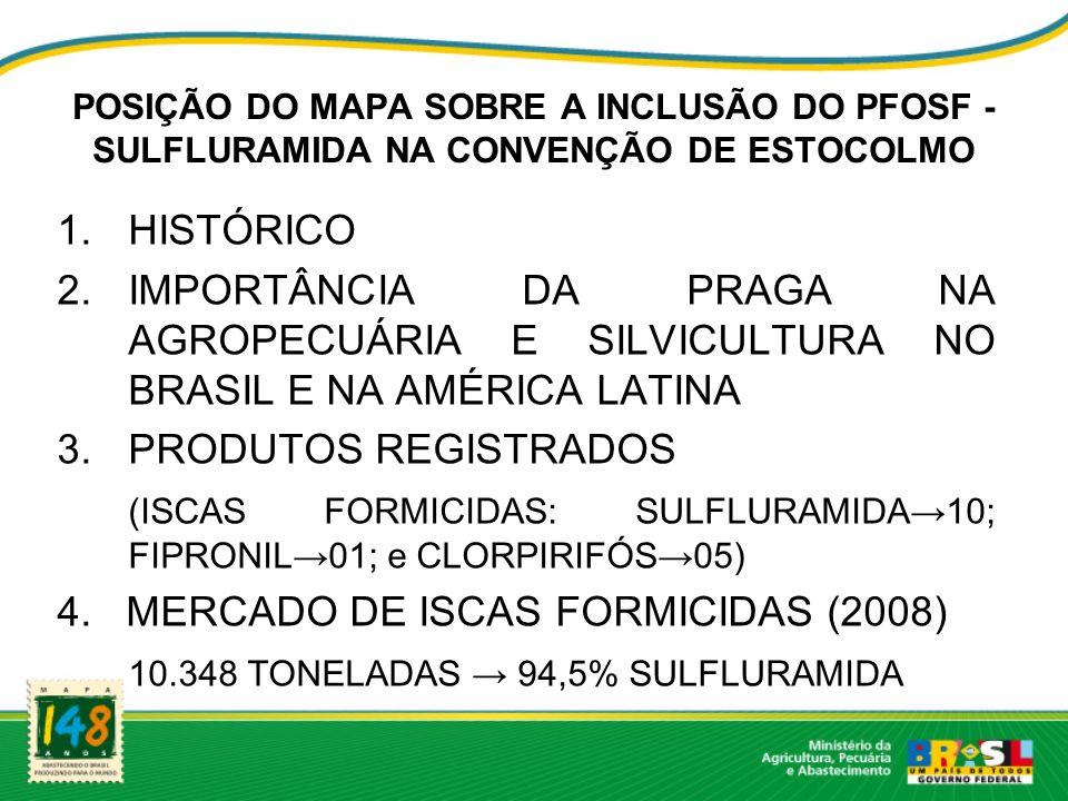 POSIÇÃO DO MAPA SOBRE A INCLUSÃO DO PFOSF - SULFLURAMIDA NA CONVENÇÃO DE ESTOCOLMO 1.HISTÓRICO 2.IMPORTÂNCIA DA PRAGA NA AGROPECUÁRIA E SILVICULTURA NO BRASIL E NA AMÉRICA LATINA 3.PRODUTOS REGISTRADOS (ISCAS FORMICIDAS: SULFLURAMIDA10; FIPRONIL01; e CLORPIRIFÓS05) 4.