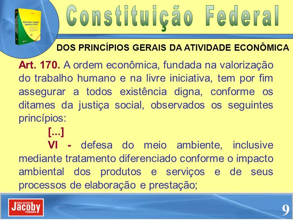 Art. 170. A ordem econômica, fundada na valorização do trabalho humano e na livre iniciativa, tem por fim assegurar a todos existência digna, conforme
